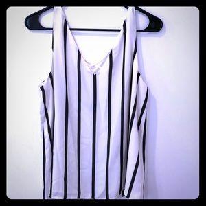 Express White & Black Stripe Sleeveless Top